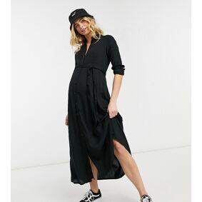 New Look Maternity long sleeve midaxi shirt dress in black  Black
