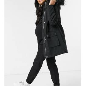 New Look Maternity longline parka jacket in black  Black