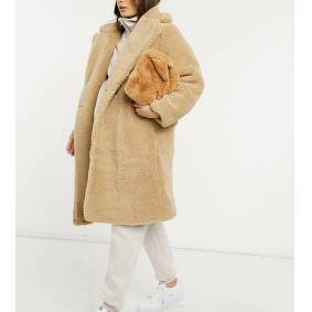 New Look Maternity longline teddy borg coat in stone-Cream  Cream