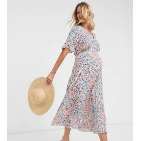 New Look Maternity midi tea dress in ditsy floral print-Blue  Blue