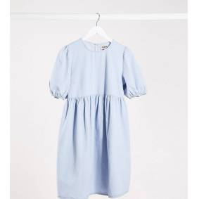 New Look Maternity smock dress with puff sleeves in blue denim  Blue