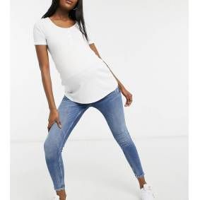 River Island Maternity Amelie overbump distressed skinny jeans in mid blue  Blue