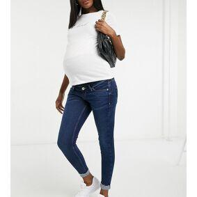 River Island Maternity Amelie overbump turnup skinny jeans in dark blue  Blue