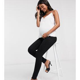 River Island Maternity Molly overbump skinny jeans in black  Black