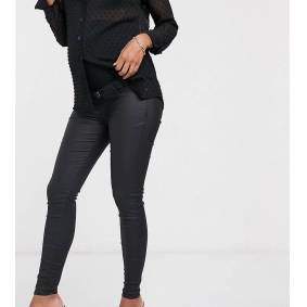 River Island Maternity Molly overbump waxed coated jeans in black  Black