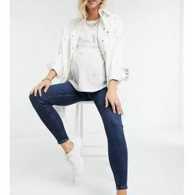 River Island Maternity Molly skinny overbump jeans in dark auth blue  Blue