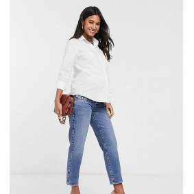 River Island Maternity overbump straight leg jeans in mid auth-Blue  Blue