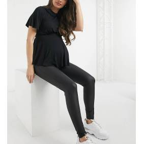 River Island Maternity waxed coated high rise leggings in black  Black