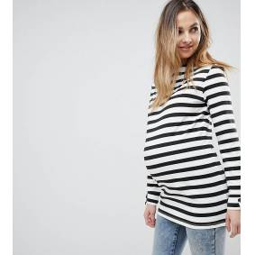 Supermom Maternity Stripe Long Sleeve Top With Back Zip-Black  Black