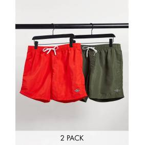 River Island 2 pack swim shorts in green & red  Green