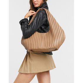 NA-KD pleat detail shoulder bag in camel-Multi  Multi