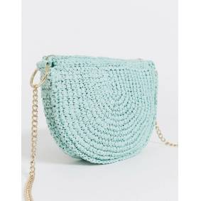 & Other Stories half moon straw bag in green  Green