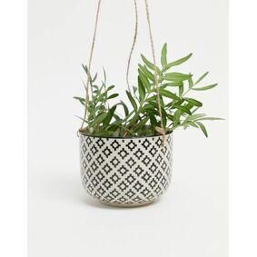 Sass & Belle geo hanging plant pot-Black  Black
