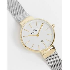 Accurist silver mesh watch with gold detail  Silver