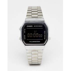 Casio A168W Unisex Digital Bracelet Watch In Silver/Black Mirror  Silver