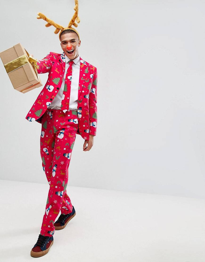 Oppo Suits OppoSuits Suit  Tie In Xmas Print - Red