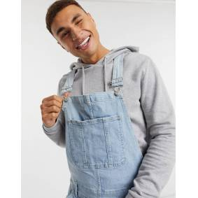 Abercrombie & Fitch denim overall shorts in light wash blue  Blue