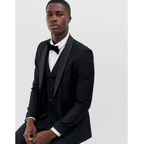 French Connection occasion slim fit tuxedo suit jacket-Black  Black