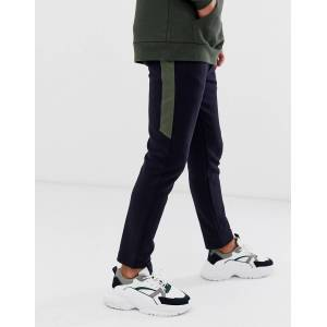 River Island pique joggers with side panel in navy  Navy
