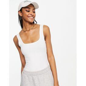 ASOS DESIGN organic cotton scoop neck vest bodysuit in white  White