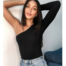 ASOS Tall ASOS DESIGN Tall bodysuit with one shoulder and long sleeve in rib in black  Black