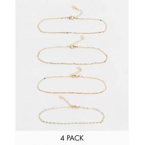 Accessorize pack of 4 chain anklets in gold  Gold