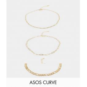 ASOS Curve ASOS DESIGN Curve pack of 3 anklets in mixed chains in gold tone  Gold