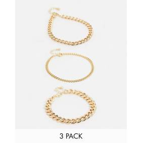 ASOS DESIGN pack of 3 anklets in mixed size curb chains in gold tone  Gold