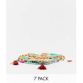 ASOS DESIGN pack of 7 anklets with beads in multiple designs  Multi