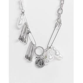 ASOS DESIGN short midweight neckchain with pearls and safety pins in silver tone  Silver