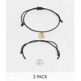ASOS DESIGN skinny cord anklet pack with peace charm in black  Black