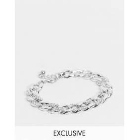 DesignB London Exclusive chunky chain anklet with pave links in silver  Silver