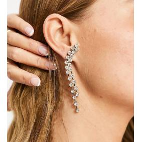 DesignB London Exclusive crystal drop earrings in silver  Silver