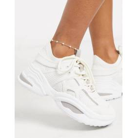 DesignB London Exclusive pearl and chain anklet in silver-Gold  Gold