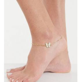 Image Gang Curve Exclusive anklet in chunky chain with butterfly-Gold  Gold
