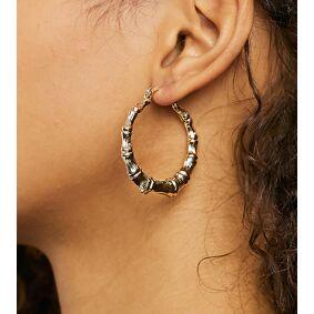 Image Gang mini bamboo hoop earrings in gold plate  Gold