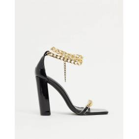SIMMI Shoes Simmi London Arika block heeled sandals with chain anklet in black  Black
