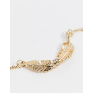 ASOS Curve ASOS DESIGN Curve pack of 2 anklets with tiny disc charms and feather in gold tone  Gold