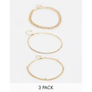 ASOS DESIGN pack of 3 anklets with crystal curb chains in gold tone  Gold