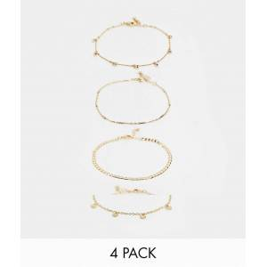 ASOS DESIGN pack of 4 anklets with fine curb chain and crystal disc charms in gold tone  Gold