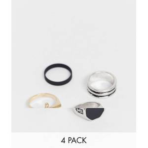 Bershka 4 pack of multi rings-Black  Black