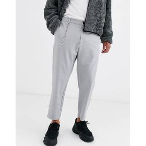 Bershka carrot fit trousers with chain in grey  Grey