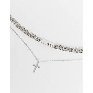 Bershka chunky double layer cross necklace in silver  Silver