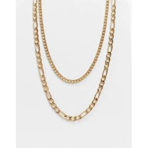 Bershka layered chain necklace in gold  Gold