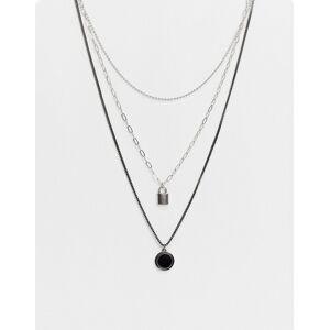 Bershka layered multi pendant necklace in silver  Silver