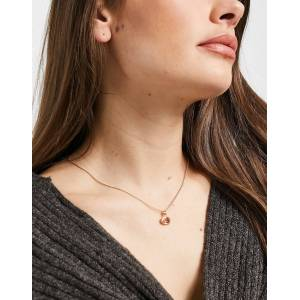 Pilgrim rose gold-plated necklace with oval glass stone-Pink  Pink