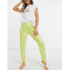 Loungeable 'Sunny Side Up' t-shirt with legging-Yellow  Yellow