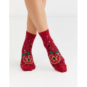 ASOS DESIGN Christmas mince pie glitter ankle socks-Red  Red