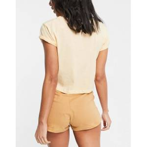 Brave Soul crème brulee cropped tshirt and shorts pjyama set in caramel-Neutral  Neutral
