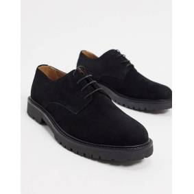 H by Hudson atol chunky lace up shoes in black suede  Black
